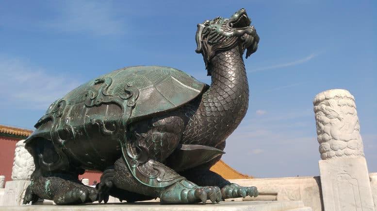 chinesische Statue: Schildkröten-Drache